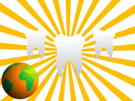 teeth and globe on sunburst background  Stock Photo - 3300225