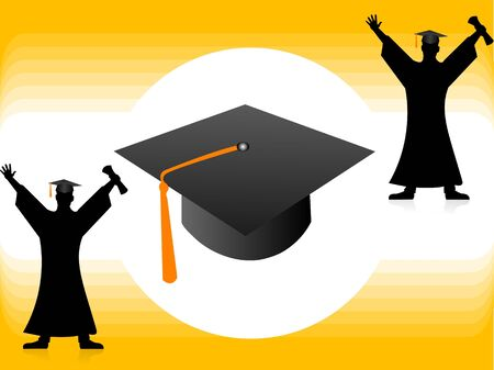 abstract academic: graduate men with cap on abstract background