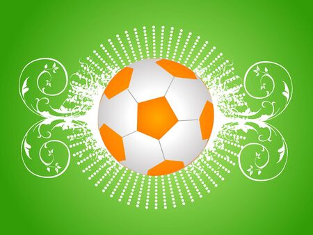 football on floral background   photo
