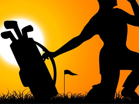 man with golfbag in field  Stock Photo - 3300211