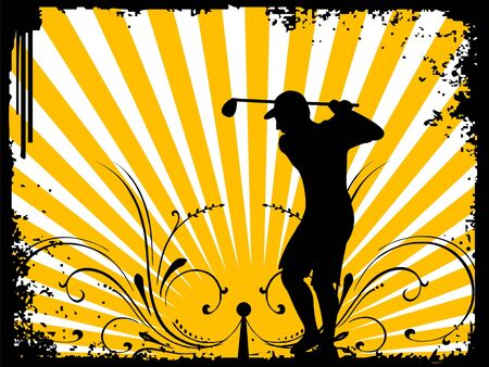 player with golf stick on sunburst background