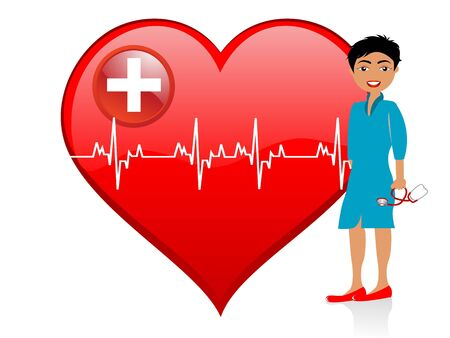 lady doctor near heart on isolated background Stock Photo - 3300147