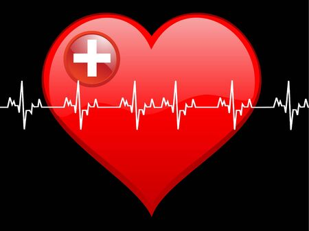analise: heart and beat on dark background   Stock Photo