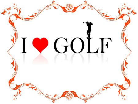i  golf text in frame 