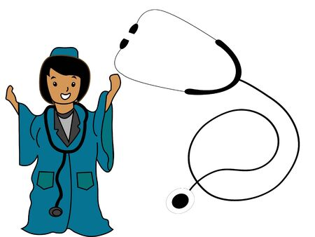 lady doctor with stethoscope on isolated background Stock Photo - 3300176