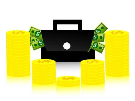 money and bag on isolated background   photo