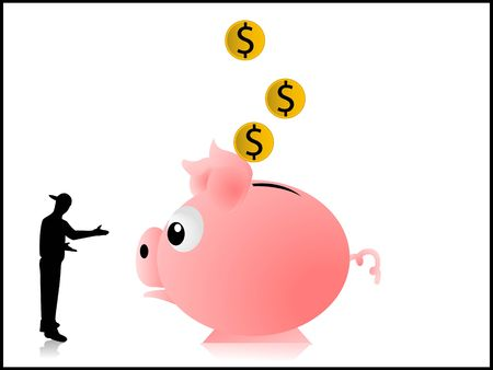 man and piggy bank on isolated background photo