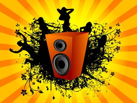 dance arround speaker on sunburst background   photo