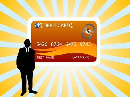 mastercard:  card and man on sunburst backgroundrn