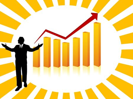 businessman and bar graph on abstract backgroundrn photo