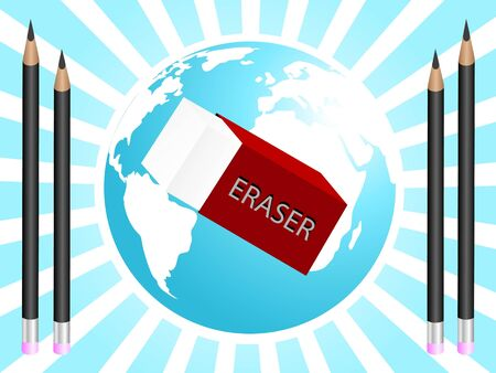 cuboid: eraser and pencils near globe       Stock Photo