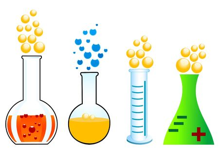 chemical reaction: chemical reaction on isolated background   Stock Photo