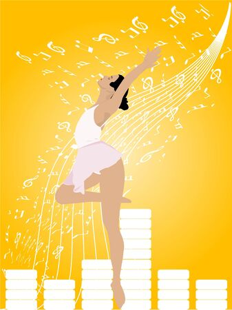 jazz dancer: ballet dancer on musical notesrn Stock Photo