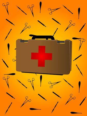 first aid box: botiqu�n de primeros auxilios con tijeras