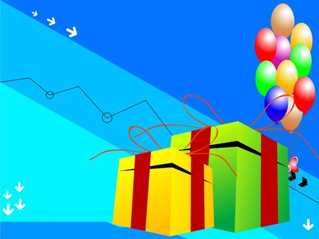balloons with gifts on colorful background   photo