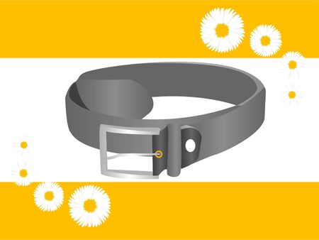 leather belt: leather belt on abstract floral background
