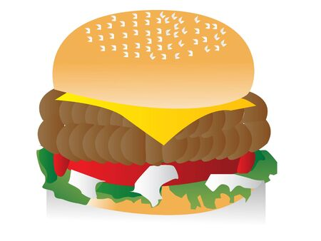 junkfood: ham burger on isolated background     Stock Photo