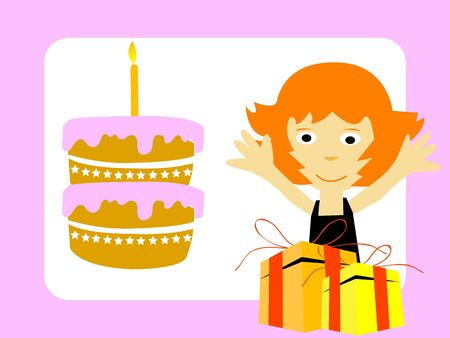 girl with gifts and cake   photo