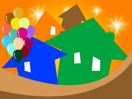 house with balloons Stock Photo - 3300528