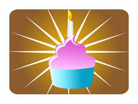 birthday cake withy burning candle   photo