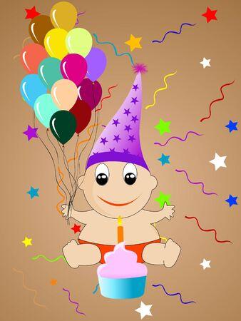 birthday boy with cake   photo