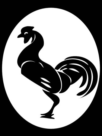 bird flu: cock on abstract background
