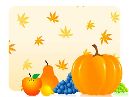 fruits and pumpkin in thanksgiving  festival Stock Photo - 3300634