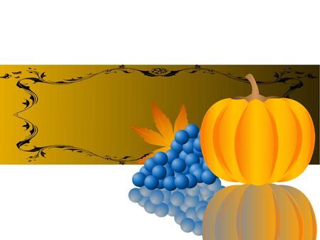 pumpkin and grapes in thanksgiving ceremony   photo