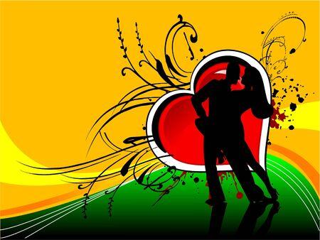 couple dancing on heart backgroundrn photo