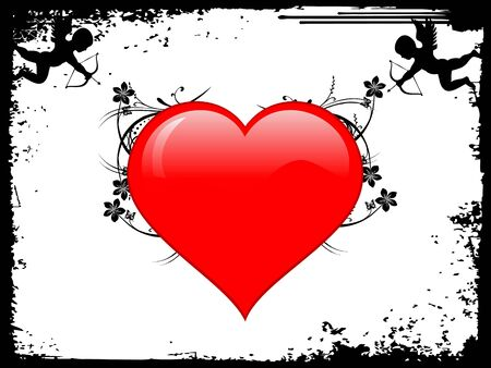 background with heart and cupidrn photo