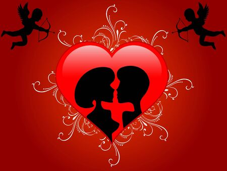 couple with heart and cupid Stock Photo - 3300700