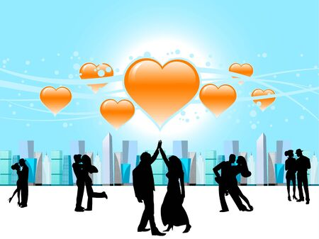 couple dancing on heart background   photo