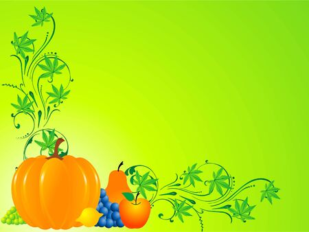 vegetable and fruits on floral background Stock Photo - 3300722