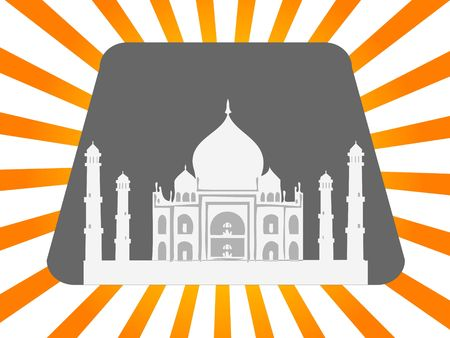 taj: taj mahal on sunburst background