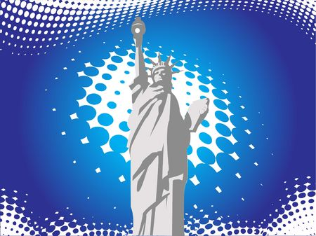 statue of liberty on abstract background