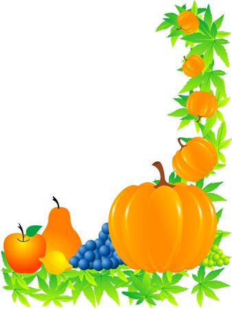 fruits and pumpkin on thanksgiving   ceremony       photo