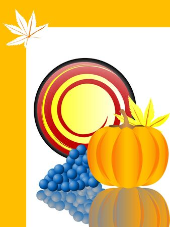 pumpkin and grapes on circular background   photo