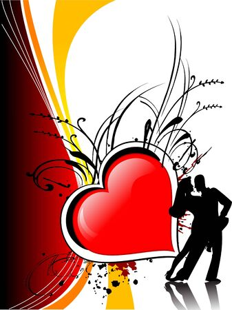 couple dancing on heart background