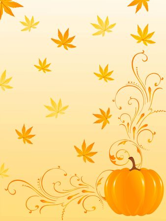 pumpkin on floral background Stock Photo - 3300676