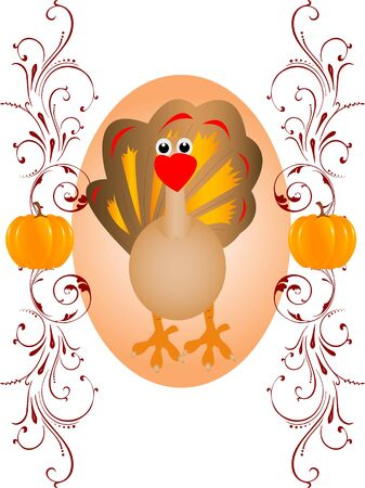 turkey with pumpkin on floral backgroundrnrn photo
