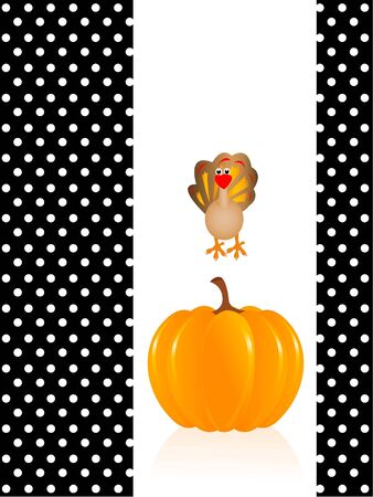 pumpkin with turkey on abstract backgroundrn photo
