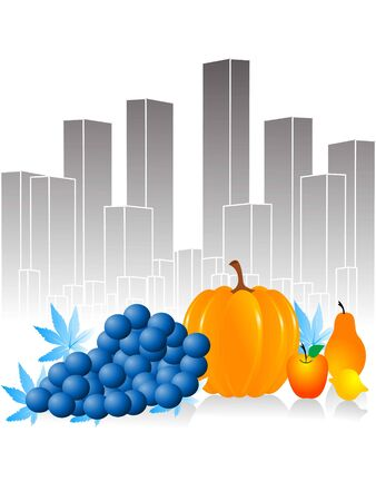 thanksgiving fruits on cityscape   photo