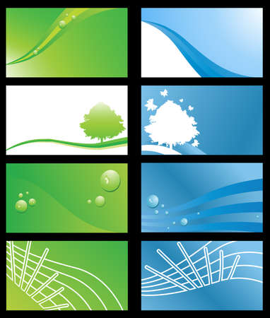Set of Eco Friendly Business Cards or Abstract Backgrounds Illustration