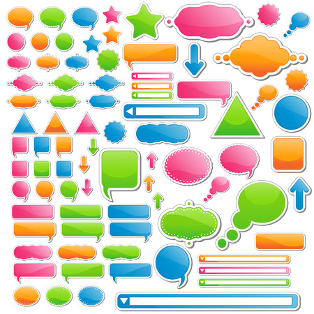Variety of Stickers and Icons; All of Them Come in 4 Delicious Candy Colors Vector