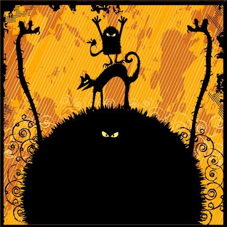 evil eye: Cute Halloween Monsters, Text can be placed on the big monster. Illustration