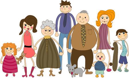 famiglia numerosa: Grande ritratto di famiglia Vettoriali