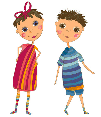 Boy and Girl Illustration