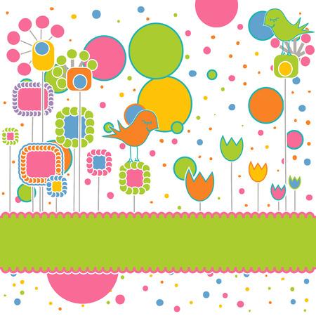 girotondo bambini: Auguri carino con fiori e uccelli