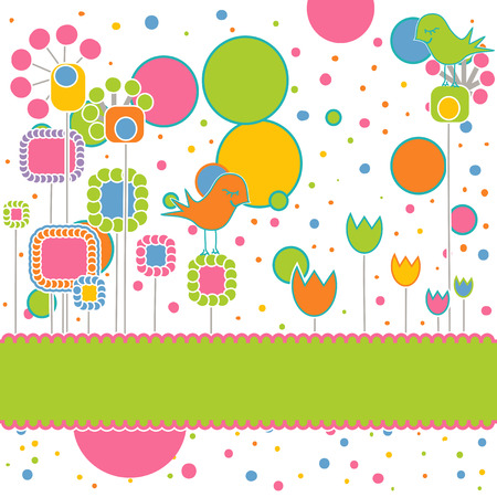Cute Greeting Card with Flowers and Birds Vector