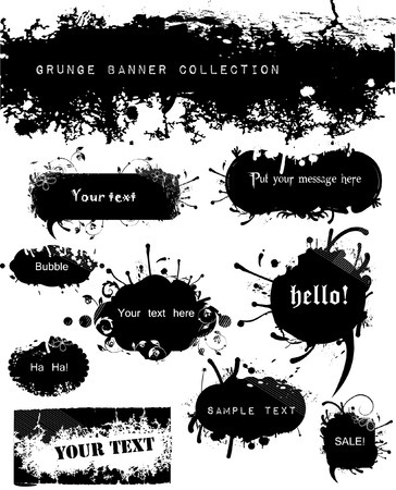 Variety of Grungy and Floral Banners Vector